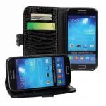 Чехол портмоне подставка с защелкой текстура Крокодил для Samsung Galaxy S4 Mini