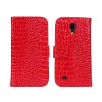 Чехол портмоне подставка с защелкой текстура Крокодил для Samsung Galaxy S4 Mini Красный