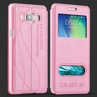 Текстурный чехол флип подставка на пластиковой основе с окном вызова и свайпом для Samsung Galaxy A7 Розовый