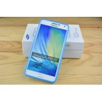 Силиконовый матовый непрозрачный чехол для Samsung Galaxy A7 Голубой