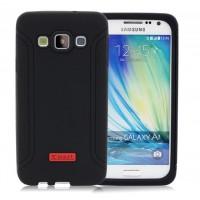 Силиконовый матовый антиударный чехол с нескользящими гранями для Samsung Galaxy A3 Черный