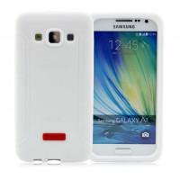 Силиконовый матовый антиударный чехол с нескользящими гранями для Samsung Galaxy A3 Белый
