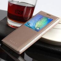 Чехол флип с окном вызова на пластиковой основе для Samsung Galaxy A3 Бежевый