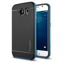 Премиум гибридный двухкомпонентный противоударный чехол силикон/поликарбонат с точечной структурой крышки для Samsung Galaxy S6 Голубой