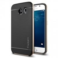 Премиум гибридный двухкомпонентный противоударный чехол силикон/поликарбонат с точечной структурой крышки для Samsung Galaxy S6 Бежевый