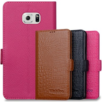 Кожаный чехол портмоне (нат. кожа крокодила) подставка на пластиковой основе для Samsung Galaxy S6