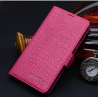 Кожаный чехол портмоне (нат. кожа крокодила) подставка на пластиковой основе для Samsung Galaxy S6 Пурпурный