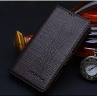Кожаный чехол портмоне (нат. кожа крокодила) подставка на пластиковой основе для Samsung Galaxy S6 Коричневый