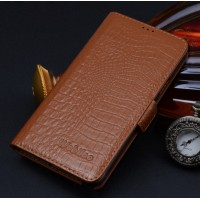 Кожаный чехол портмоне (нат. кожа крокодила) подставка на пластиковой основе для Samsung Galaxy S6 Оранжевый