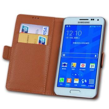 Кожаный чехол портмоне (нат. кожа) подставка на пластиковой основе для Samsung Galaxy S6