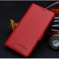 Кожаный чехол портмоне (нат. кожа) подставка на пластиковой основе для Samsung Galaxy S6 Красный