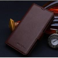 Кожаный чехол портмоне (нат. кожа) подставка на пластиковой основе для Samsung Galaxy S6 Коричневый