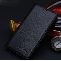Кожаный чехол портмоне (нат. кожа) подставка на пластиковой основе для Samsung Galaxy S6 Черный