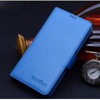 Кожаный чехол портмоне (нат. кожа) подставка на пластиковой основе для Samsung Galaxy S6 Голубой