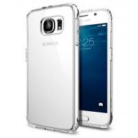 Гибридный двухкомпонентный антиударный премиум чехол экстрим защита с транспарентной крышкой для Samsung Galaxy S6 Белый