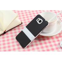 Двухкомпонентный силиконовый чехол с пластиковым бампером-подставкой для Samsung Galaxy Alpha Черный
