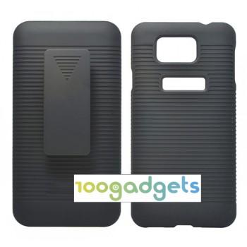 Двухповерхностный пластиковый чехол с клипсой для ременного крепления и подставкой для Samsung Galaxy Alpha