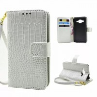 Чехол портмоне подставка с защелкой на пластиковой основе текстура Крокодил для Samsung Galaxy Core Prime Белый