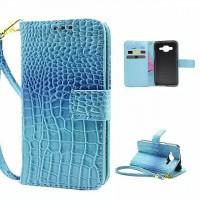 Чехол портмоне подставка с защелкой на пластиковой основе текстура Крокодил для Samsung Galaxy Core Prime Голубой