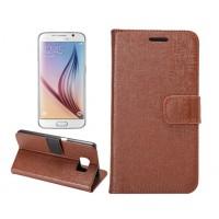 Чехол портмоне подставка с защелкой текстура Ткань для Samsung Galaxy S6