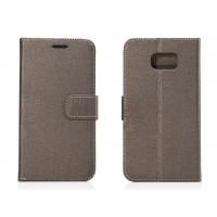 Чехол портмоне подставка с защелкой текстура Ткань для Samsung Galaxy S6 Серый