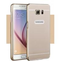 Двухкомпонентный чехол с металлическим бампером и поликарбонатной накладкой для Samsung Galaxy S6 Бежевый