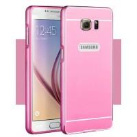 Двухкомпонентный чехол с металлическим бампером и поликарбонатной накладкой для Samsung Galaxy S6 Розовый