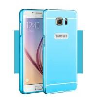 Двухкомпонентный чехол с металлическим бампером и поликарбонатной накладкой для Samsung Galaxy S6 Голубой
