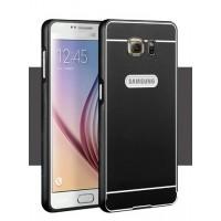 Двухкомпонентный чехол с металлическим бампером и поликарбонатной накладкой для Samsung Galaxy S6 Черный