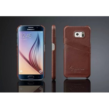 Дизайнерский кожаный чехол накладка с отделениями для карт для Samsung Galaxy S6