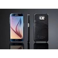 Дизайнерский кожаный чехол накладка с отделениями для карт для Samsung Galaxy S6 Черный