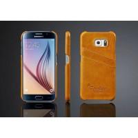 Дизайнерский кожаный чехол накладка с отделениями для карт для Samsung Galaxy S6 Желтый