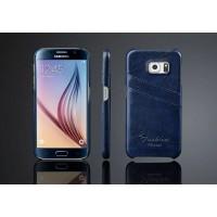 Дизайнерский кожаный чехол накладка с отделениями для карт для Samsung Galaxy S6 Синий