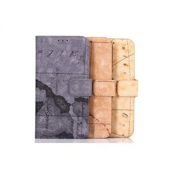 Дизайнерский чехол портмоне подставка на пластиковой основе с защелкой и принтом География для Samsung Galaxy S6