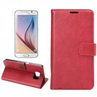 Чехол портмоне подставка на пластиковой основе с защелкой для Samsung Galaxy S6 Красный