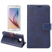 Чехол портмоне подставка на пластиковой основе с защелкой для Samsung Galaxy S6 Синий