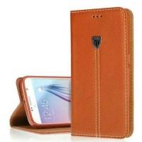 Кожаный прошитый чехол подставка на присосках и силиконовой основе для Samsung Galaxy S6