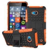 Силиконовый чехол экстрим защита с функцией подставки для Microsoft Lumia 640 Оранжевый