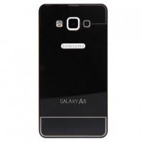 Двухкомпонентный чехол с металлическим бампером и поликарбонатной накладкой Dark Apple и лого-отверстием для Samsung Galaxy A5 Черный