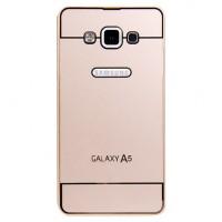 Двухкомпонентный чехол с металлическим бампером и поликарбонатной накладкой Dark Apple и лого-отверстием для Samsung Galaxy A5 Бежевый