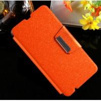 Чехол флип подставка текстурный на силиконовой основе с магнитной защелкой для Microsoft Lumia 535 Оранжевый