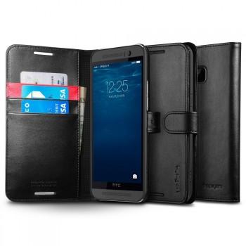 Кожаный премиум чехол портмоне (нат. кожа) с магнитной застежкой на силиконовой основе для HTC One M9