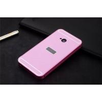 Двухкомпонентный чехол с металлическим бампером и поликарбонатной накладкой с отверстием под лого для HTC One (М7) Dual SIM Розовый