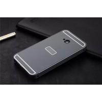 Двухкомпонентный чехол с металлическим бампером и поликарбонатной накладкой с отверстием под лого для HTC One (М7) Dual SIM Черный