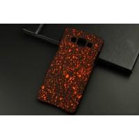 Пластиковый матовый дизайнерский чехол с голографическим принтом Звезды для Samsung Galaxy A5 Оранжевый