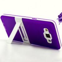 Двухкомпонентный силиконовый чехол с пластиковым каркасом-подставкой для Samsung Galaxy A5 Фиолетовый