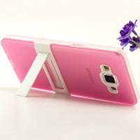 Двухкомпонентный силиконовый чехол с пластиковым каркасом-подставкой для Samsung Galaxy A5 Розовый