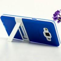 Двухкомпонентный силиконовый чехол с пластиковым каркасом-подставкой для Samsung Galaxy A5 Синий