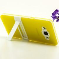 Двухкомпонентный силиконовый чехол с пластиковым каркасом-подставкой для Samsung Galaxy A5 Желтый