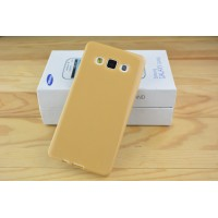 Силиконовый глянцевый непрозрачный чехол для Samsung Galaxy A5 Бежевый